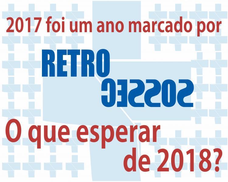 Cartaz com o símbolo do SUS azul ao fundo e os dizeres '2017 foi um ano marcado por RETROCESSOS [a palavra Retrocessos em destaque]. O que esperar de 2018?'