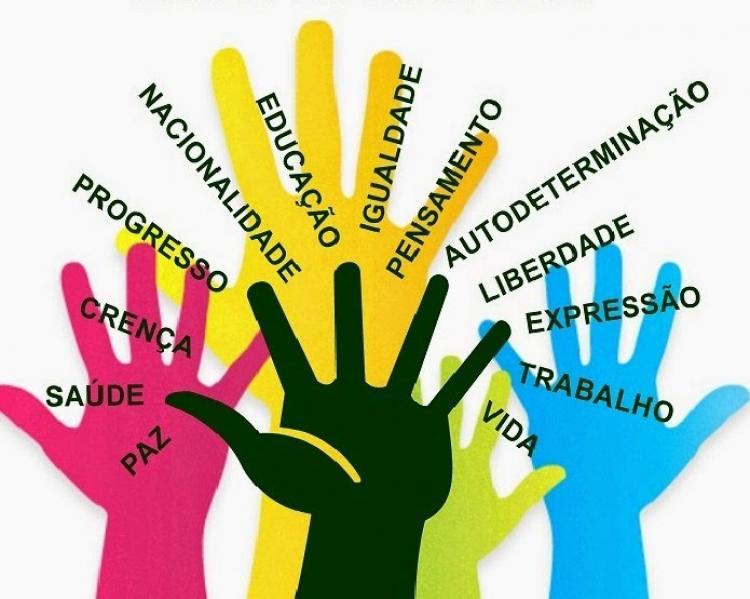 Desenhos de mãos coloridas espalmadas sob palavras que se referem a direitos humanos, como saúde, educação, trabalho, vida, crença e paz