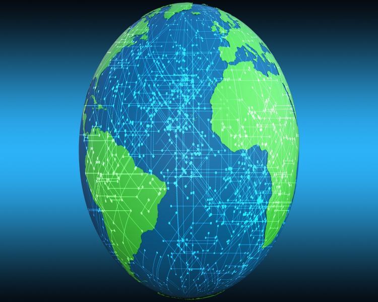 Globo terrestre, mostrando o oceano Atlântico em primeiro plano, com América do Sul e África nas laterais, coberto por uma rede