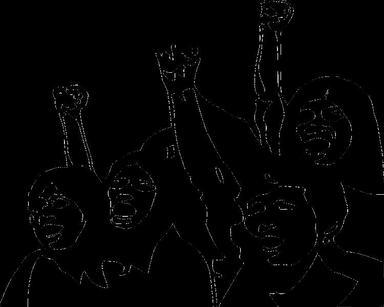Imagem desenhado em preto e branco de mulheres com os braços erguidos em sinal de luta