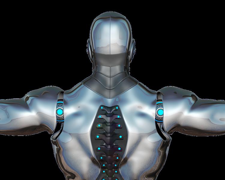 Dorso de robô, em aço prateado