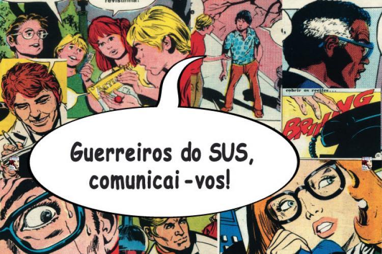 Colagem de ilustrações coloridas mostrando pessoas conversando e falando ao telefone e um balão de história em quadrinhos sobreposto que diz: