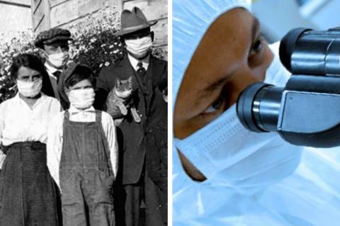 Duas fotos lado a lado, a primeira mostrando pessoas de máscaras, em 1918, durante a gripe espanhola; a segunda o rosto em primeiro plano de um pesquisador olhando ao microscópio