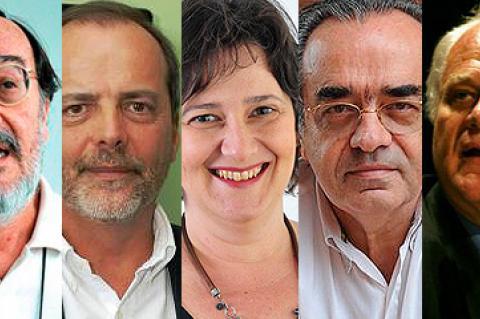 rostos em close justapostos, na ordem, três homens, uma mulher e dois homens, pesquisadores que estarão nos grandes debates do Abrascão