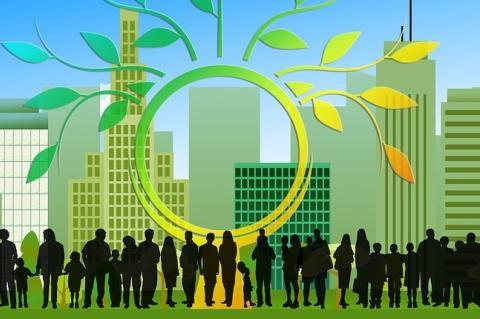 Ilustração com prédios e árvores na cor verde e silhuetas em preto na base