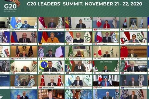 Pequenos quadrados emoldurando rostos lado a lado de homens e mulheres, chefes de Estado, em reunião virtual