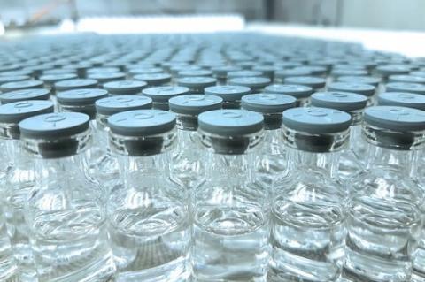 Vidros transparentes com tampas de cor cinza enfileirados, todos iguais