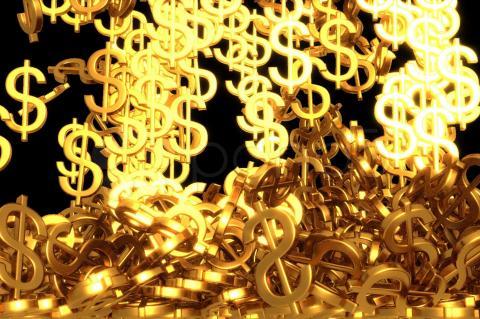 Uma chuva de cifrões dourados caindo e espalhando-se