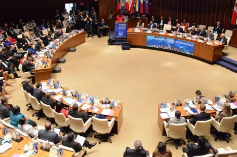 Salão principal da Conferência na sede da Opas, em Washington DC, onde se reúnem os ministros da Saúde, delegados do evento