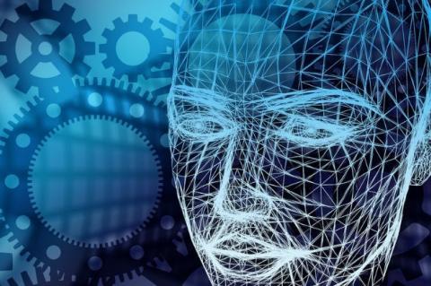 Feições de um rosto humano conformadas por linhas em rede, em tons de azul, com engrenagens ao fundo